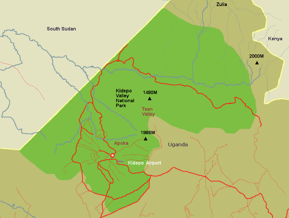 Map of Kidepo Valley National Park. - Kidepo Valley National Park Valley National Park Maps on